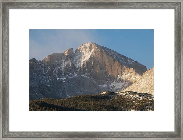 The Diamond Face Of Longs Peak Framed Print