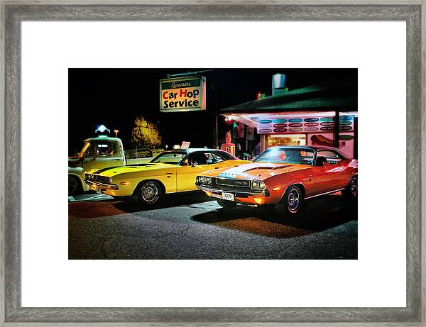 The Dodge Boys - Cruise Night At The Sycamore Framed Print