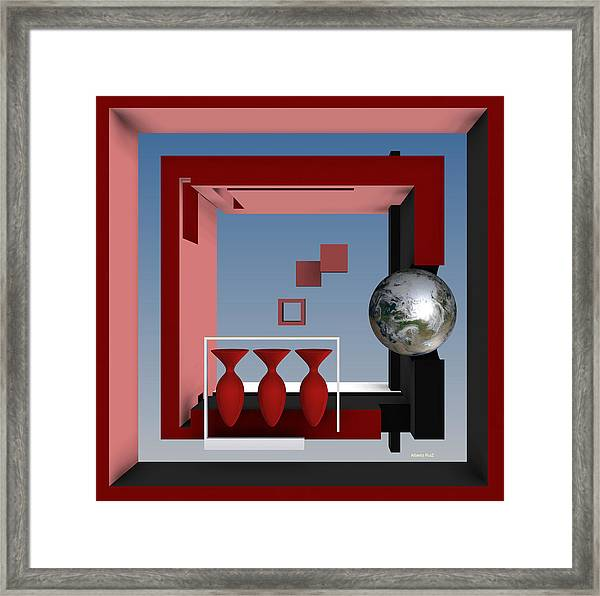 The Earth And Three Red Vases Framed Print