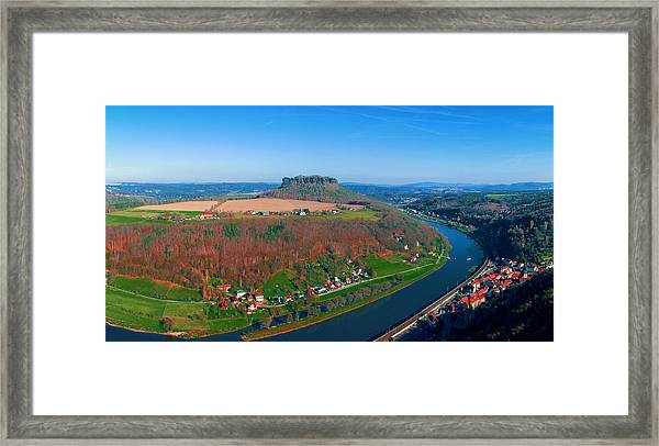 The Elbe Around The Lilienstein Framed Print