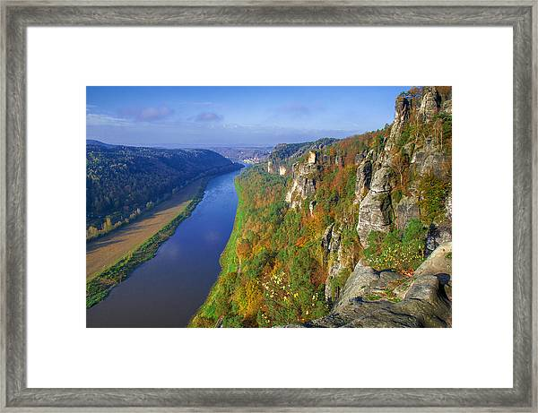 The Elbe Sandstone Mountains Along The Elbe River Framed Print