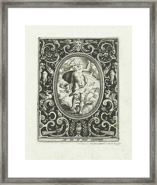 The Element Of Air As A Young Man Standing On Clouds Framed Print by Nicolaes De Bruyn