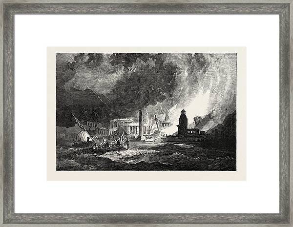 The Elements A Magnificent City Has Its Superb Temples Framed Print by Stanfield, Clarkson Frederick (1793-1867), English