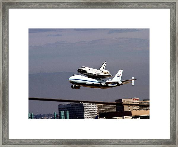 The Endeavor And Her 747 Final Landing At Lax Framed Print