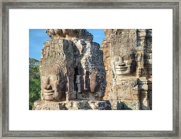 The Faces Of Ancient Khmer Framed Print