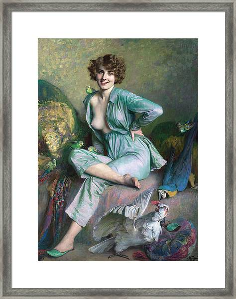 Framed Print featuring the painting The Familiar Birds by Emile Friant