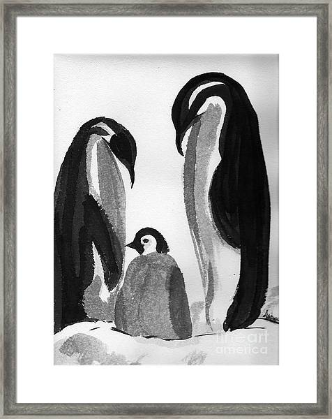 Happy Feet -the Family Of Penguins Framed Print