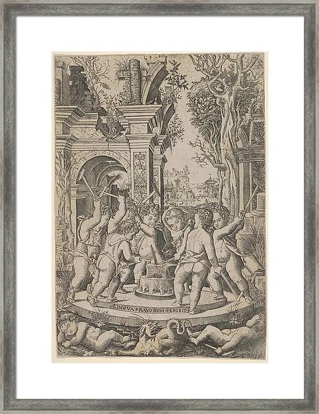 The Fate Of An Evil Tongue Seven Putti Framed Print