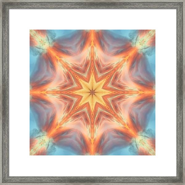 Framed Print featuring the digital art The Fire From Within Mandala by Beth Sawickie