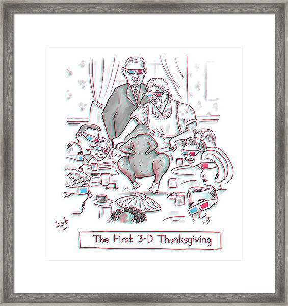 The First 3-d Thanksgiving.  A Turkey Is Dancing Framed Print