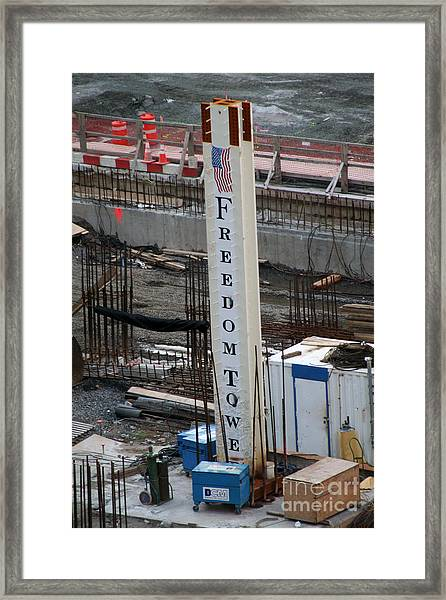The First Beam Of The Freedom Tower Framed Print