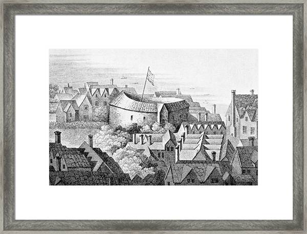 The First Globe Theatre Or Rose Theatre Etching Framed Print