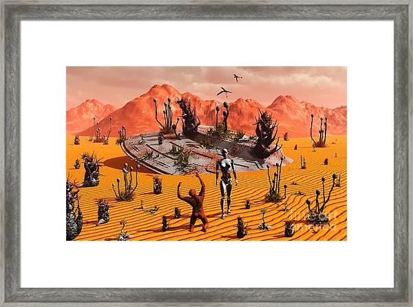 The First Man, Adam, Greeting An Alien Framed Print