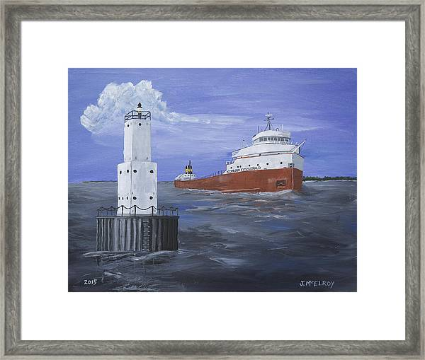The Fitz Departs Escanaba Framed Print