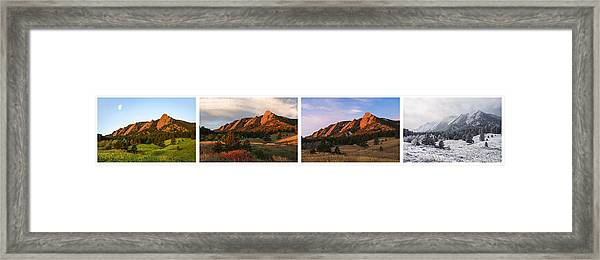 The Flatirons - Four Seasons Panorama Framed Print