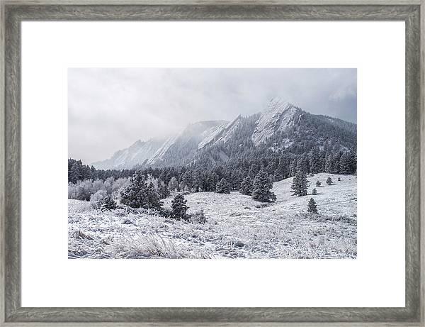 The Flatirons - Winter Framed Print
