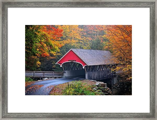 The Flume Covered Bridge Framed Print