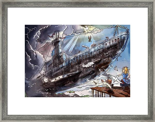 The Flying Submarine Framed Print