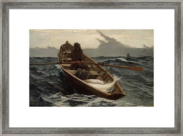 The Fog Warning .halibut Fishing Framed Print