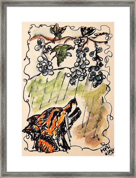 The Fox And The Grapes Framed Print