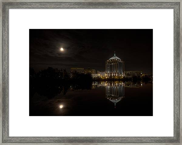 The Full Moon Over The Dudley Tower Framed Print