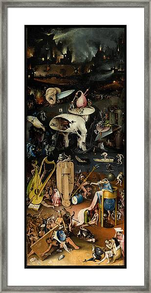 Framed Print featuring the painting The Garden Of Earthly Delights. Right Panel by Hieronymus Bosch