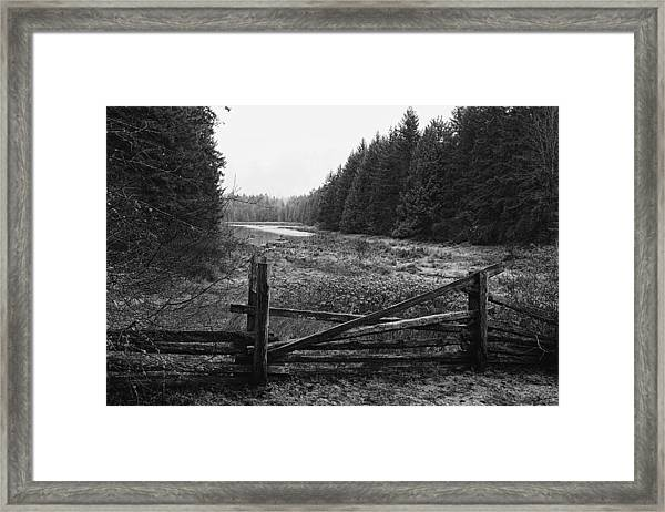 The Gate In Black And White Framed Print