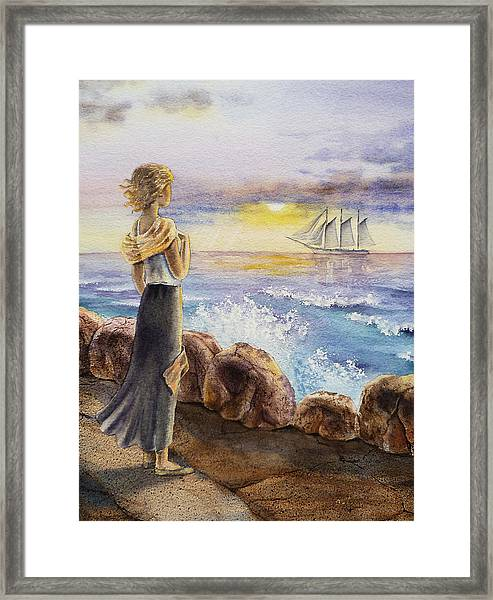 The Girl And The Ocean Framed Print