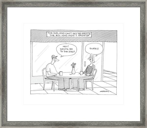 'the Girl Who Can't Say No Meets The Boy Who Framed Print