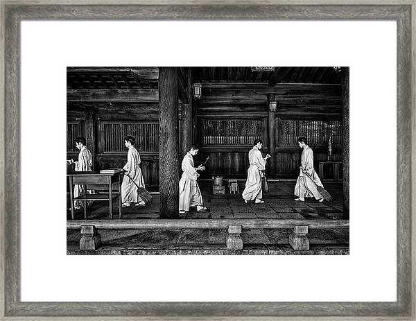 The Going And The Being Back Of A Monk In The Sweeping Of The Temple (tokio) Framed Print
