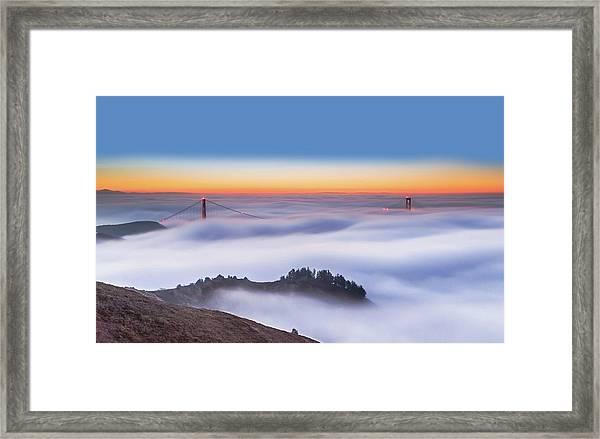 The Golden Gate Bridge In The Fog Framed Print