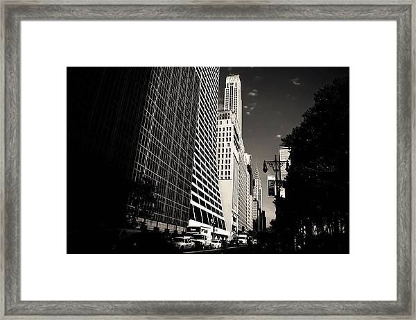 The Grace Building And The Chrysler Building - New York City Framed Print