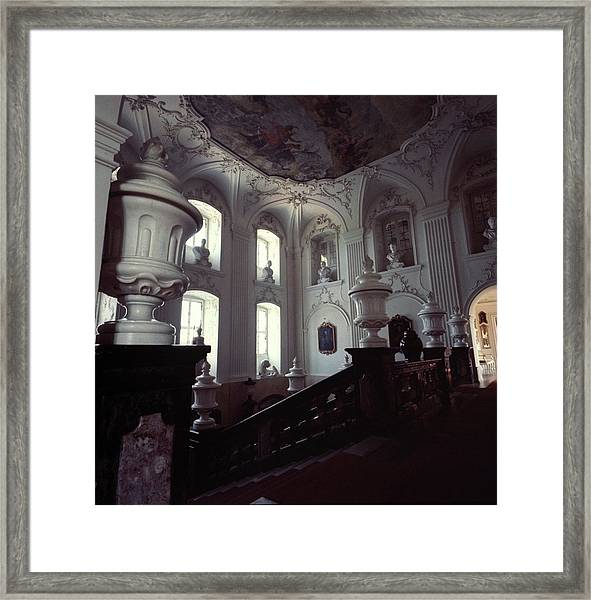 The Grand Staircase At Schloss Fasanerie Framed Print