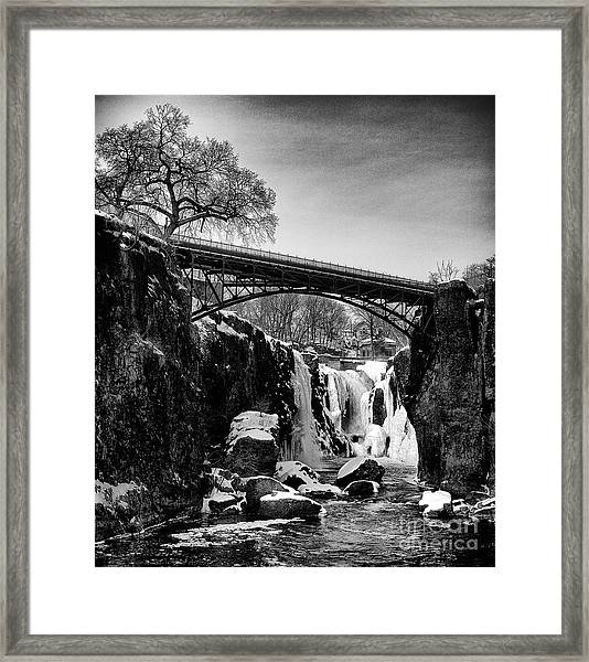 The Great Falls Of Paterson In Black And White Framed Print