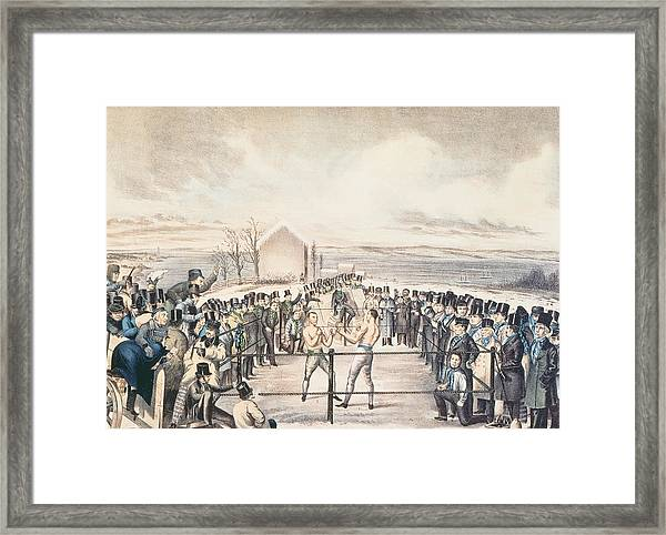 The Great Fight Between Tom Hyer And Yankee Sullivan Framed Print
