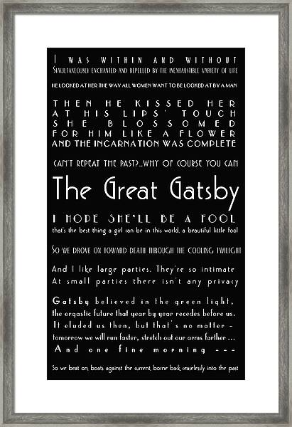 The Great Gatsby Quotes Framed Print