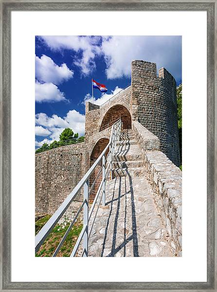 The Great Wall Above The City Center Framed Print by Russ Bishop