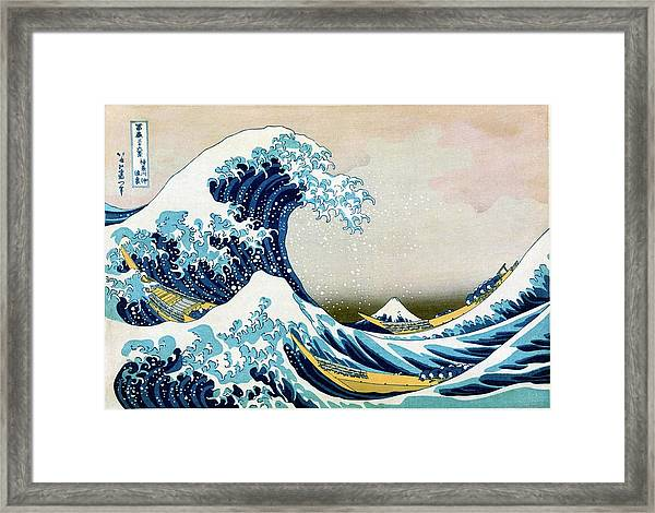 The Great Wave Off Kanagawa Framed Print by Library Of Congress/science Photo Library