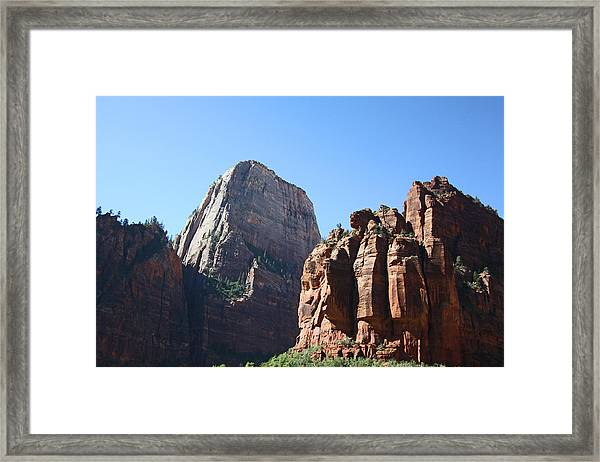The Great White Throne In Zion National Park Framed Print