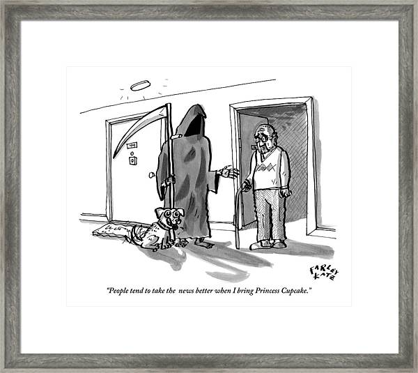 The Grim Reaper Brings A Small Puppy Framed Print