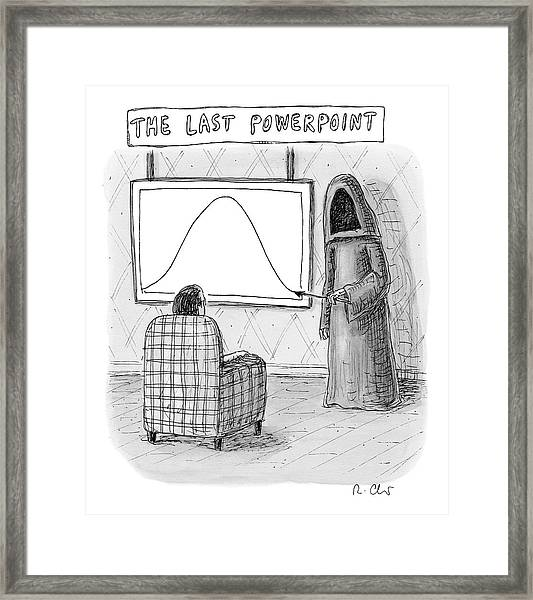 The Grim Reaper Points To A Screen As A Man Framed Print