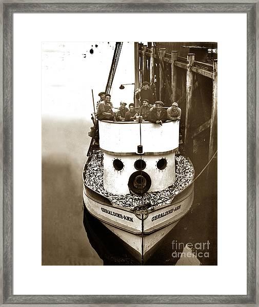 The Happy Crew Of The Fishing Boat  Geraldine- Ann Monterey California 1939 Framed Print