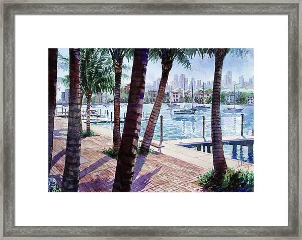 The Harbor Palms Framed Print