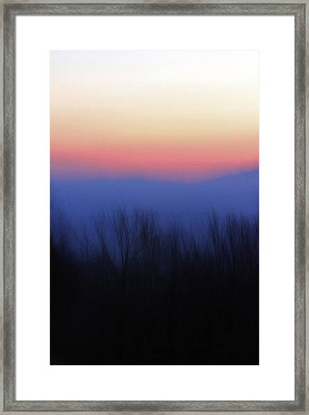 The Haze Of A Mountain Sunset Framed Print