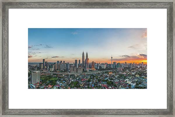 The Heart Of Kuala Lumpur During Sunset Framed Print