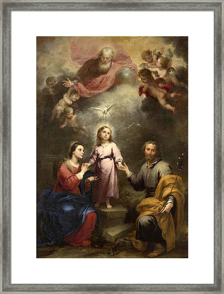 Framed Print featuring the painting The Heavenly And Earthly Trinities by Bartolome Esteban Murillo