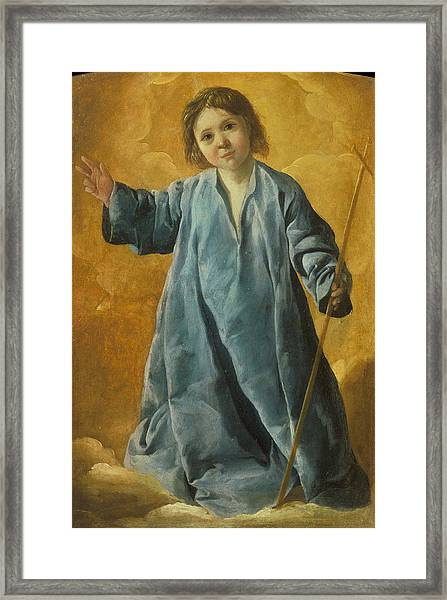 Framed Print featuring the painting The Infant Christ by Francisco de Zurbaran