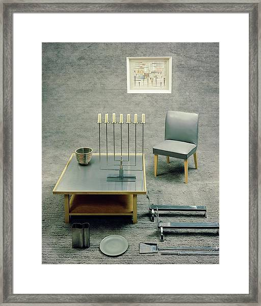 The Interior Design Of A Gray Living Room Framed Print