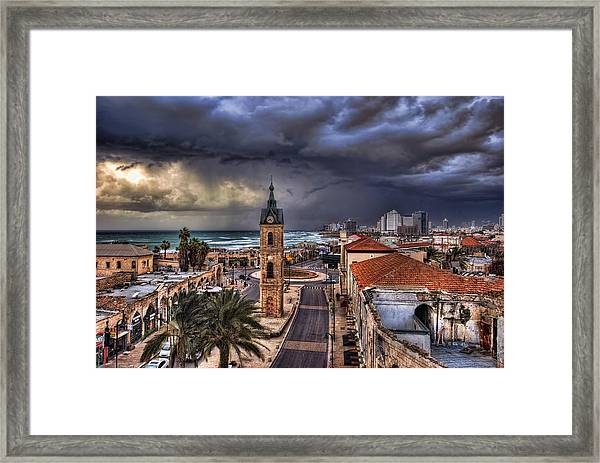 the Jaffa old clock tower Framed Print