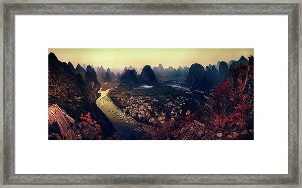 The Karst Mountains Of Guangxi Framed Print